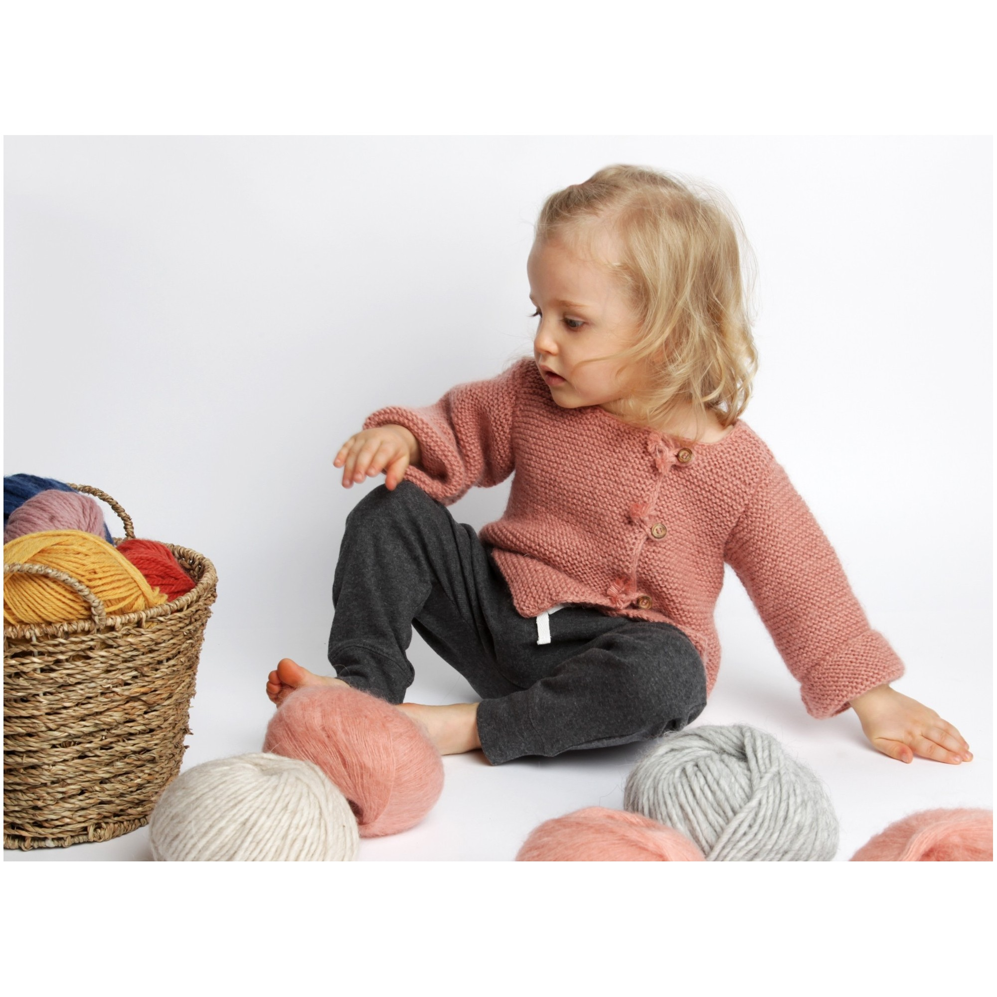 Old pink baby cardigan with wood buttons made from wool and mohair 2