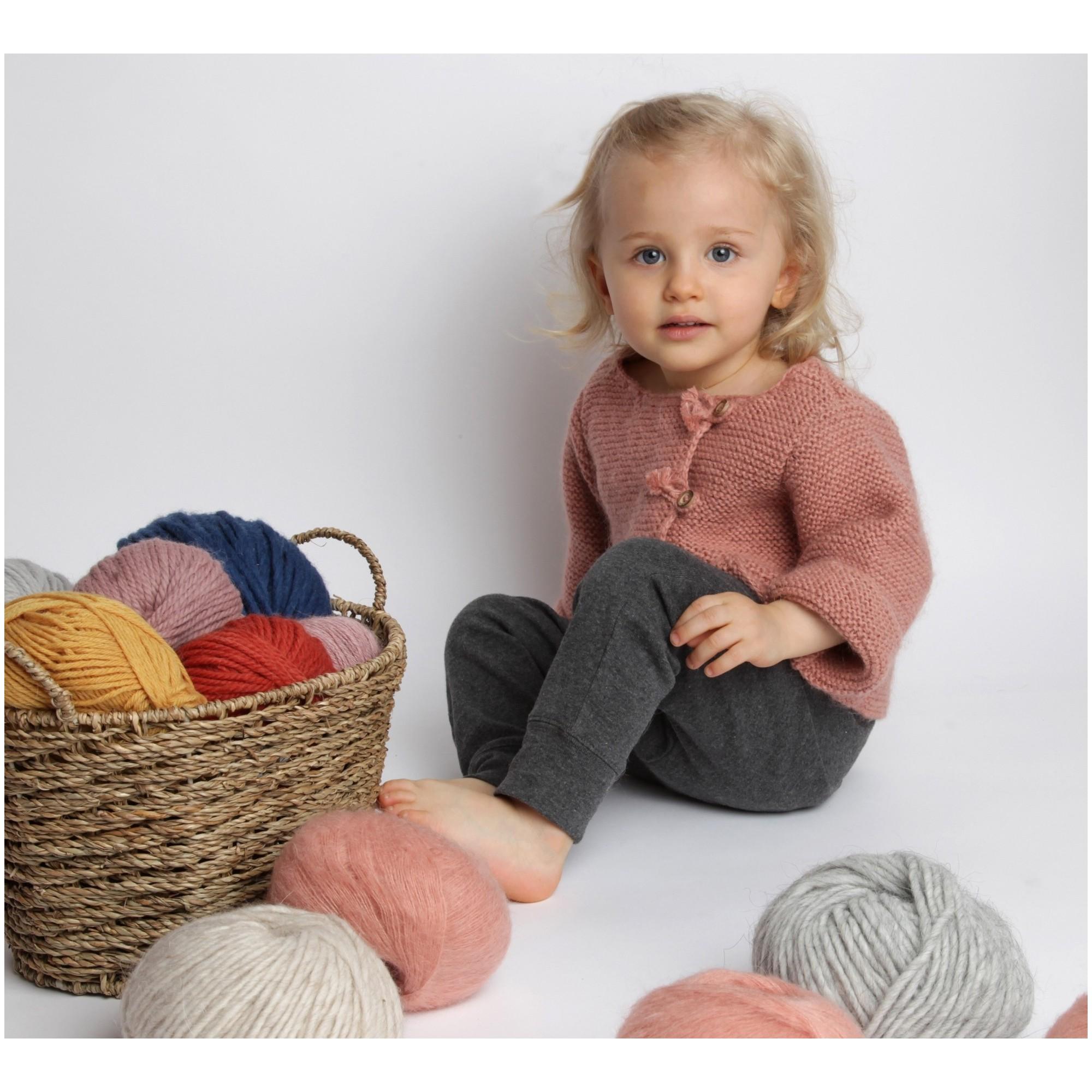 Les tricots de mamy gilet manches longues b b enfant fille vieux rose tricot main en laine - Chambre fille vieux rose ...