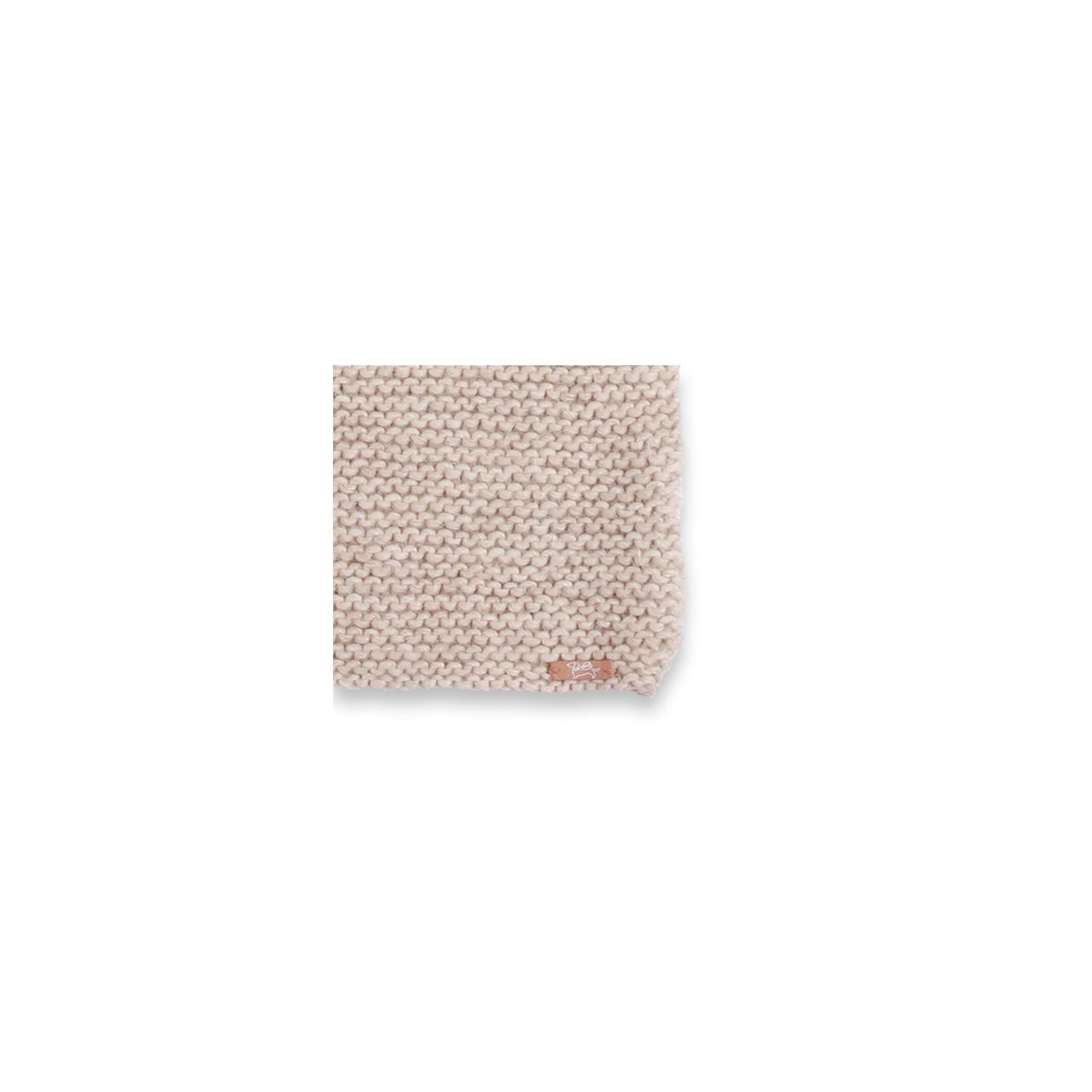 Cape bébé beige écru, au point mousse, en laine et alpaga - détail