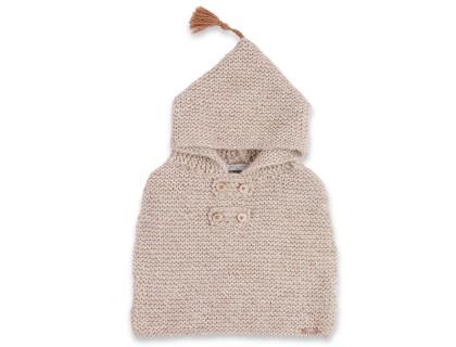 Cape bébé beige écru, au point mousse, en laine et alpaga