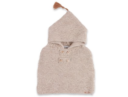 Beige baby cape knitted in garter stitch made from wool and alpaca