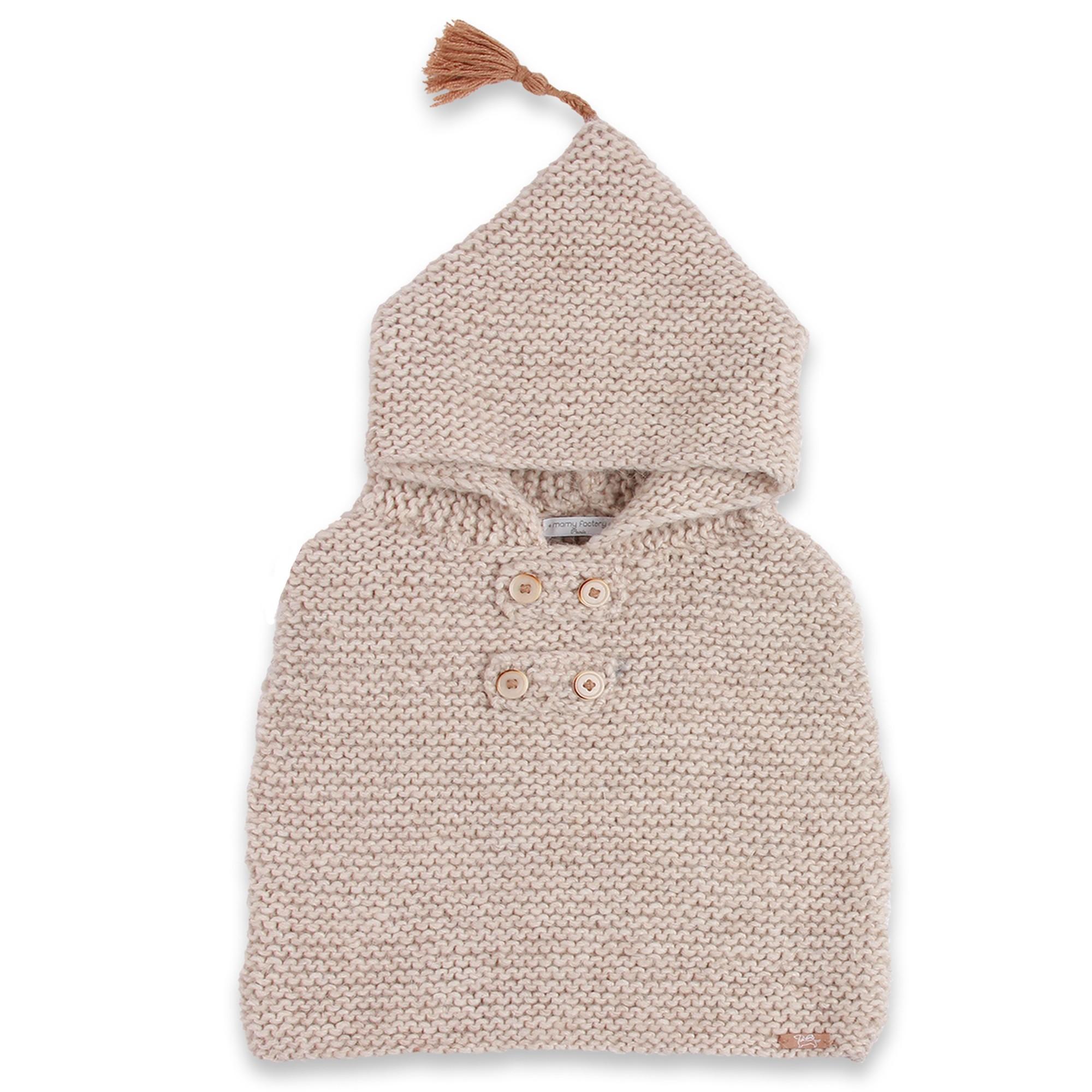 Cape de b b beige tricot e par nos mamies en laine et alpaga - Laine pour tricoter avec les bras ...