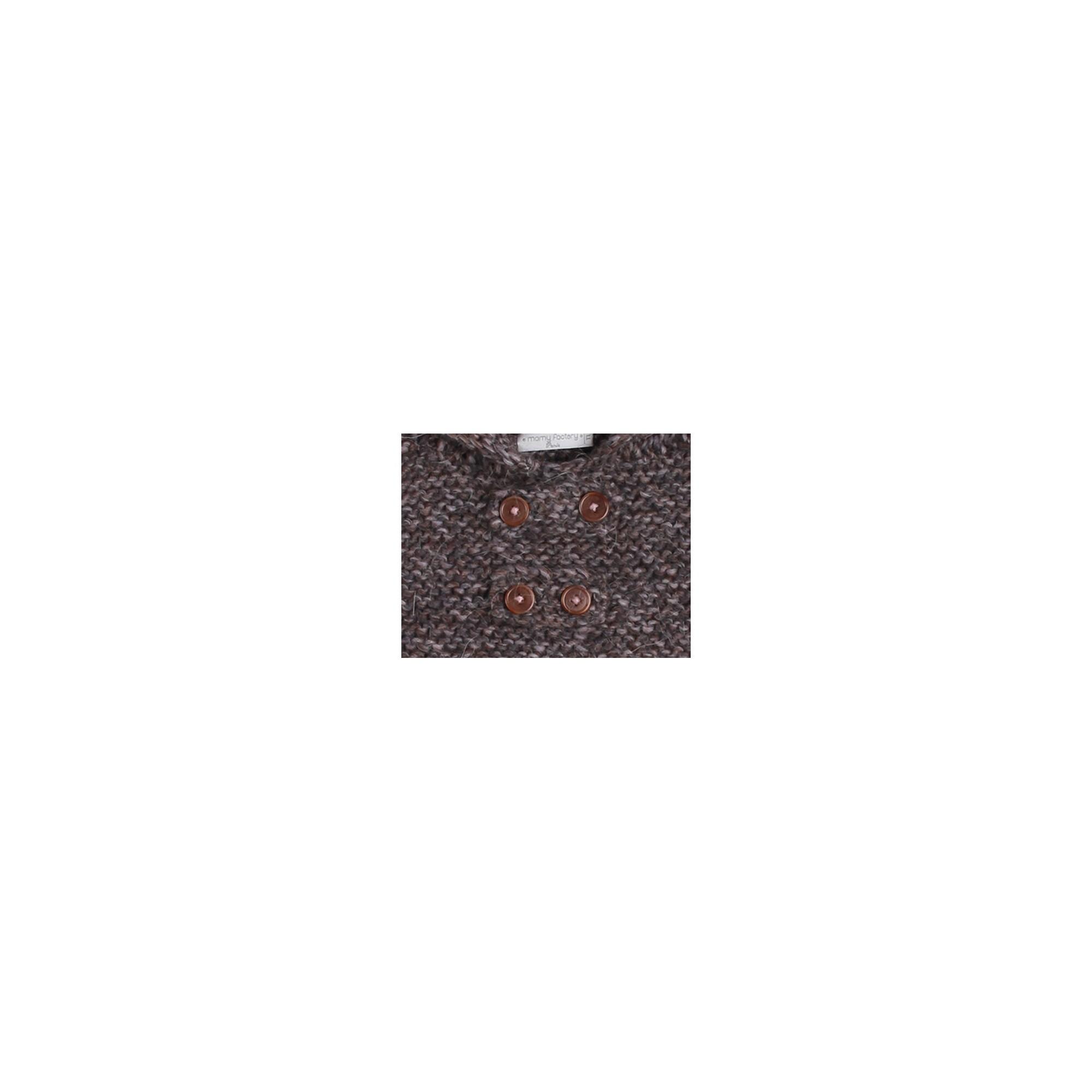 Cape bébé marron et mauve, au point mousse, en laine et alpaga - détail