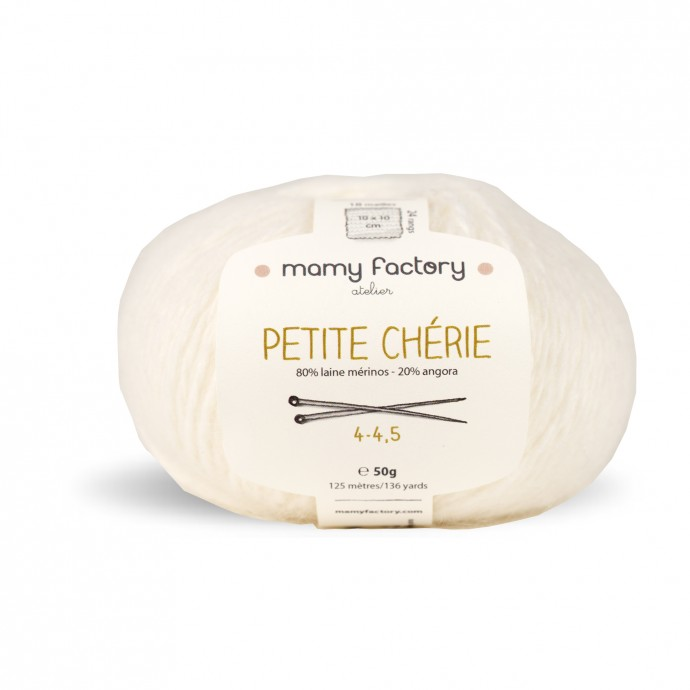 Laine naturelle Petite chérie - Mamy Factory - Blanc