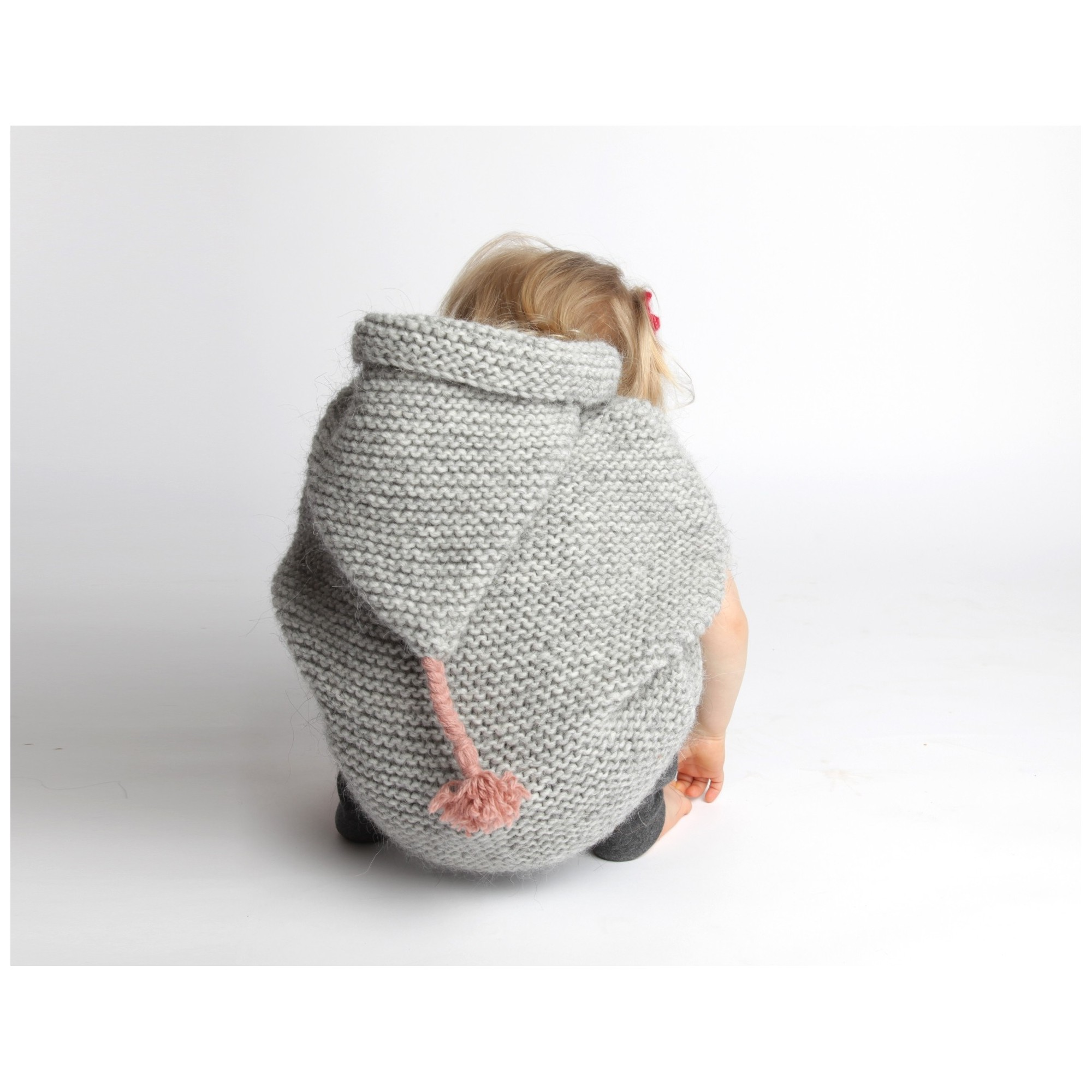 Grey baby cape knitted in garter stitch made from wool and alpaca - back 2