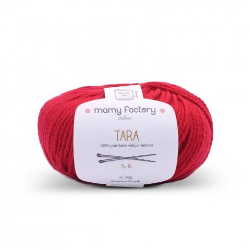 Laine naturelle Tara - Mamy Factory - Rouge carmin