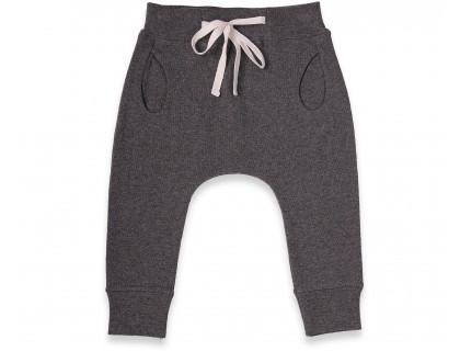 Jogging bébé gris foncé - anthracite forme légèrement sarouel avec taille élastiquée en 100% coton