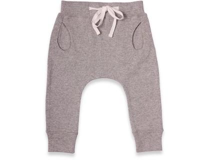 Jogging bébé gris chiné forme légèrement sarouel avec taille élastiquée en 100% coton