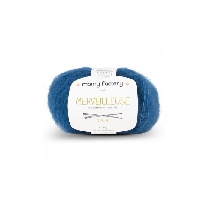 Laine naturelle Merveilleuse - Mamy Factory - Bleu Canard