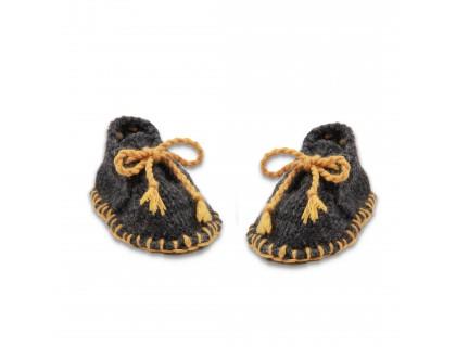 Chaussons bébé laine et alpaga gris foncé et jaune type desert boots