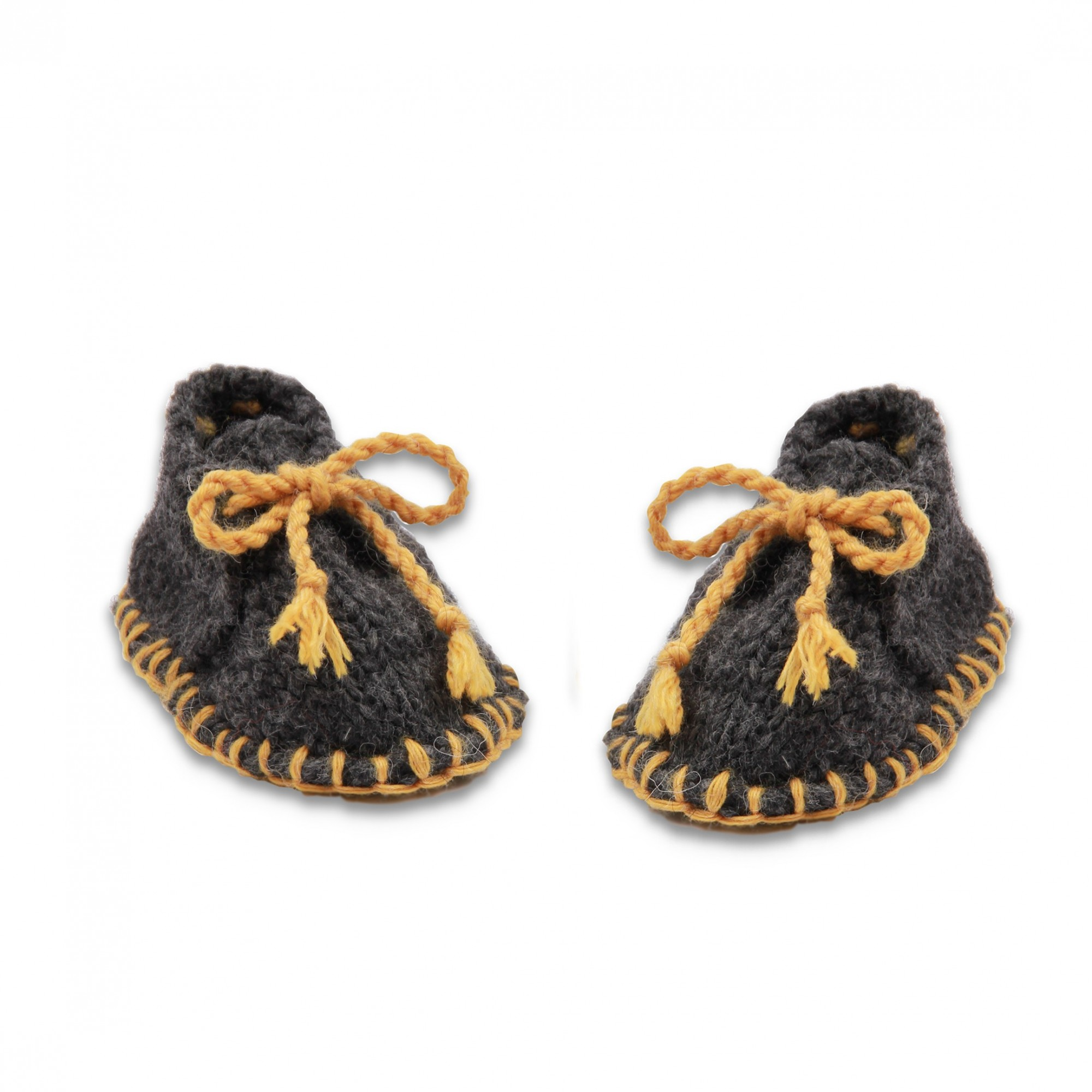 Baby slippers made from wool and alpaca dark grey and yellow like desert boots