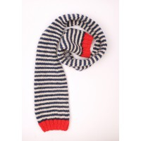Navy blue and natural white Hubert scarf with red details