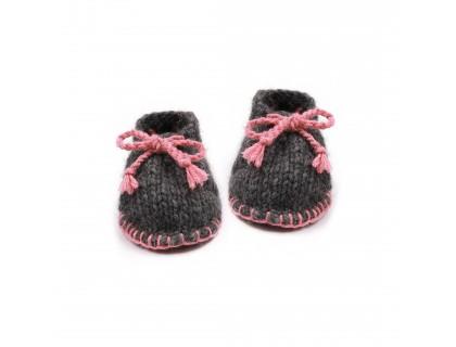 Chaussons bébé laine et alpaga gris et rose  type desert boots