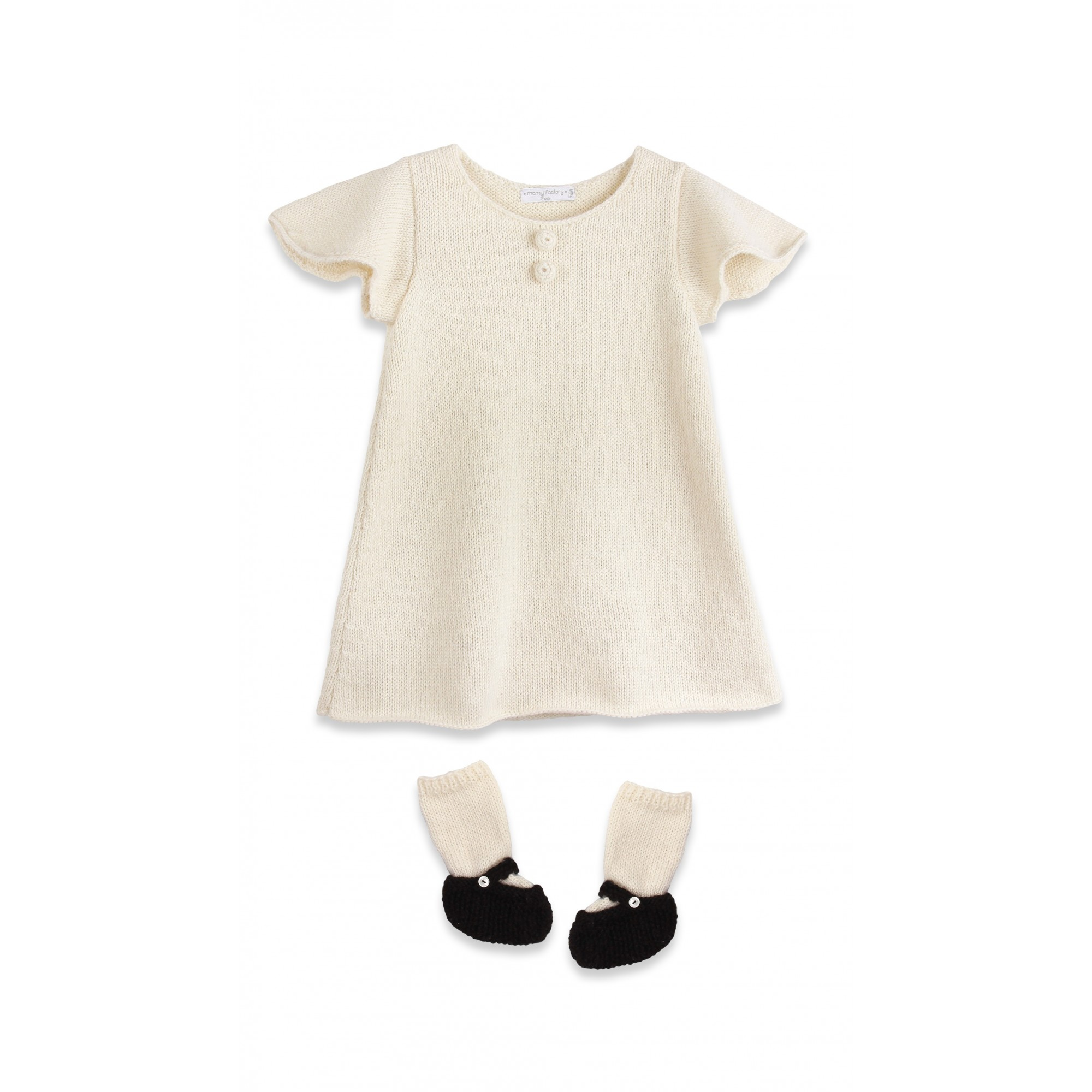 Baby Dress with short and butterfly shaped sleeves and ballerinas slippers made from 100% alpaca natural white