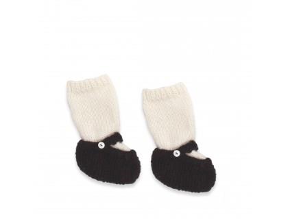 Chaussons bébé type ballerines / babies en 100% alpaga écru et noi