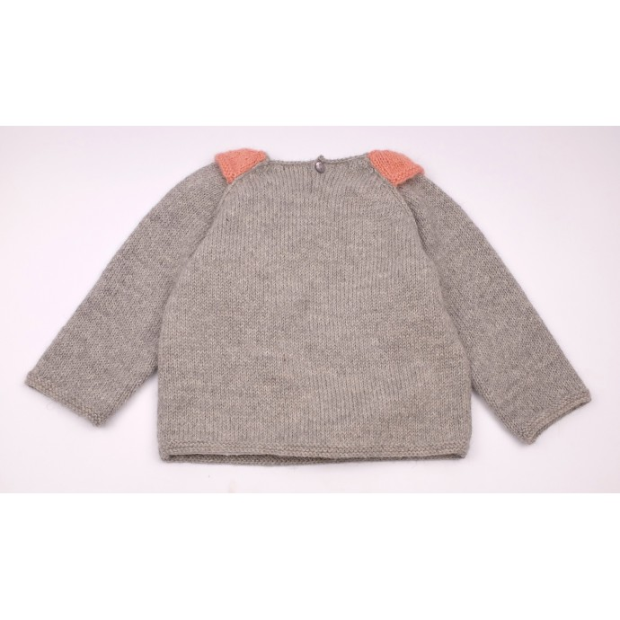 Pierre sweater grey and pink made from alpaca back
