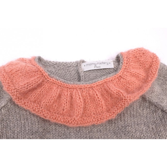 Pierre sweater grey and pink made from alpaca detail