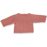 Old pink baby cardigan with wood buttons made from wool and mohair - back