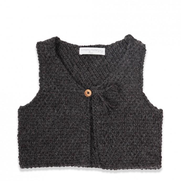 Gilet de berger bébé sans manche gris foncé en laine et alpaga avec bouton bois