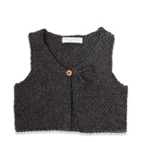 Dark grey baby cardigan shepherd made from wool and alpaca with olive wood button