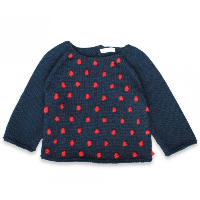 Eugène sweater kid night blue with red nopes wool alpaca
