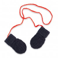 Fernand mittens for baby - navy blue and red colors - merino and angora
