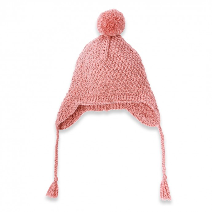 Old pink baby cap hand knitted made from wool and alpaca