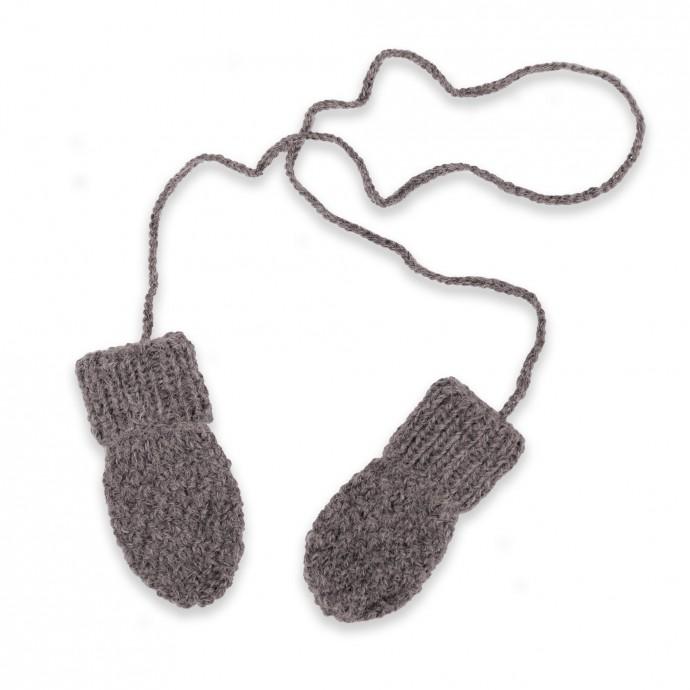 Gants / moufles bébé gris en laine et alpaga tricoté au point de blé