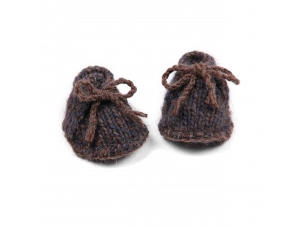 Chaussons bébé laine et alpaga bleu marine et marron  type desert boots