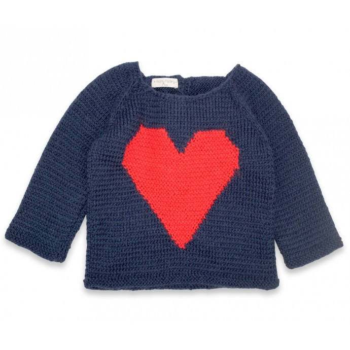 Agénor sweater navy blue with red heart wool alpaca