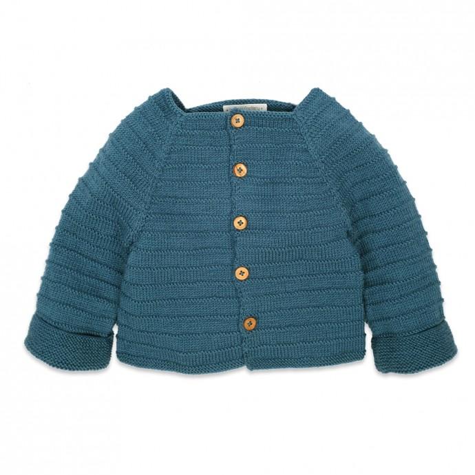 Gilet bébé pour bébé - coloris bleu canard - en mérinos -