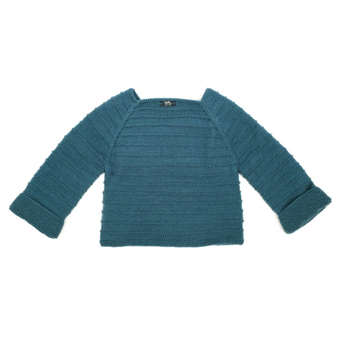 Louis Cardigan for baby - peacock blue - le dos