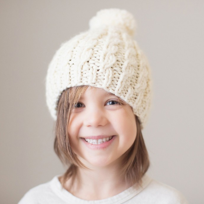 Gabriel cap for baby - natural white color - wool