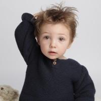 Pull bébé point mousse coton et cachemire taupe