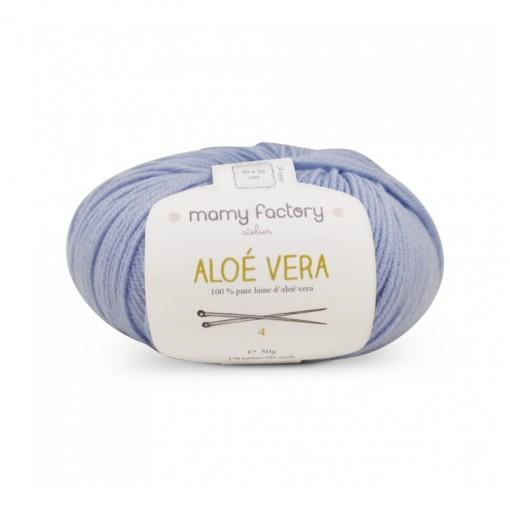 Laine naturelle Aloe Vera - Mamy Factory - Bleu clair