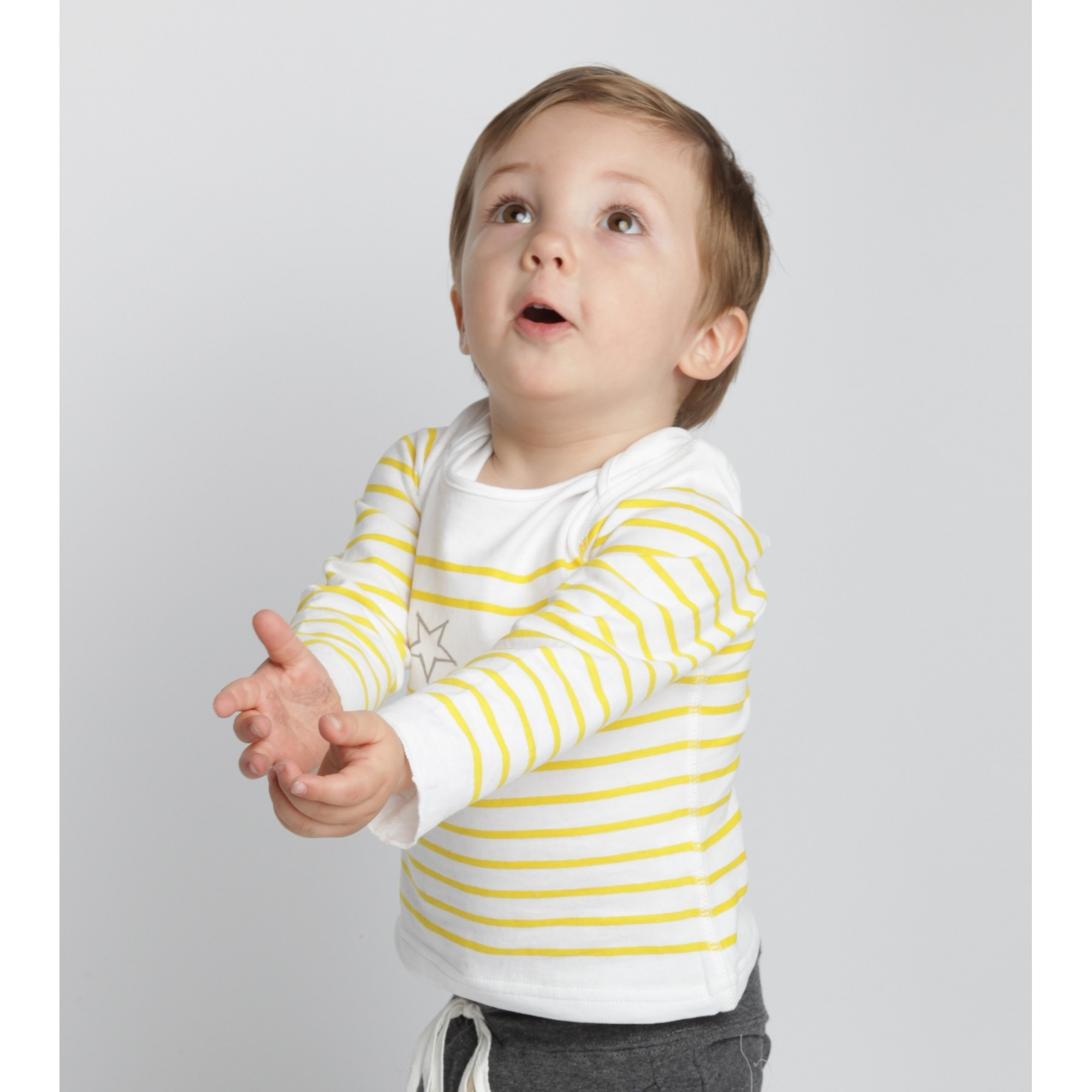 Long sleeves baby T-Shirt with yellow  stripes and grey star 100% soft cotton 2