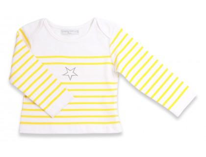 T-shirt manches longues bébé style marinière. Rayures jaunes étoile grise 100% coton