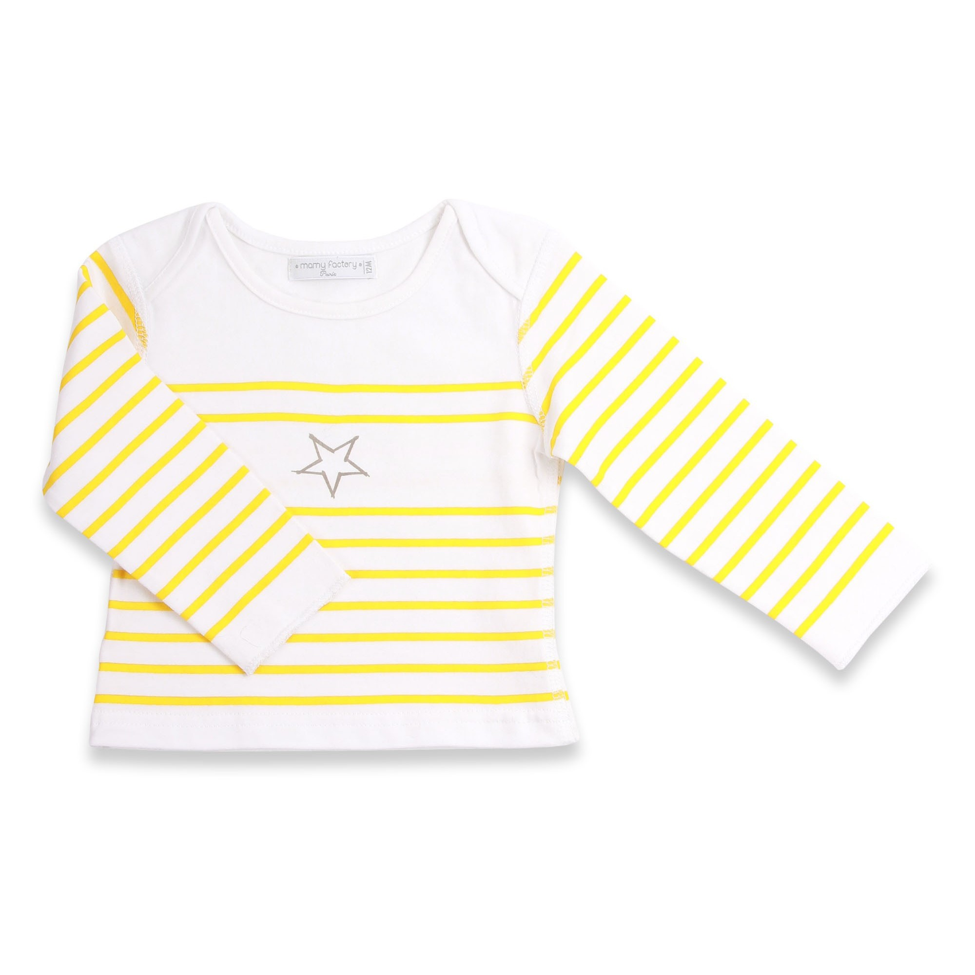 Long sleeves baby T-Shirt with yellow stripes and grey star 100% soft cotton