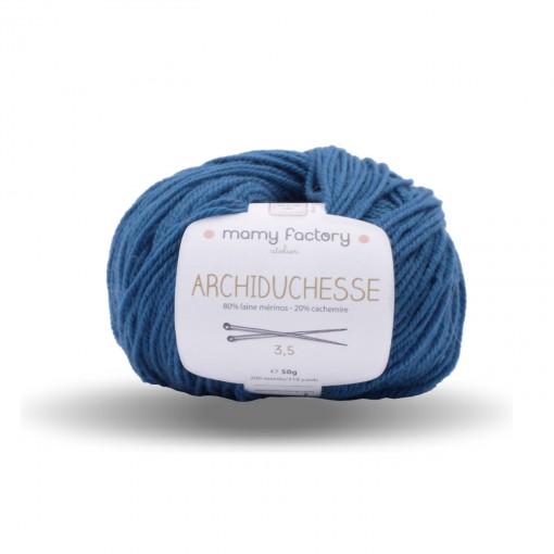 Laine naturelle Archiduchesse - Mamy Factory - Bleu canard