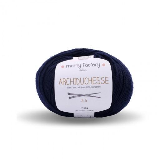 Laine naturelle Archiduchesse - Mamy Factory - Bleu marine