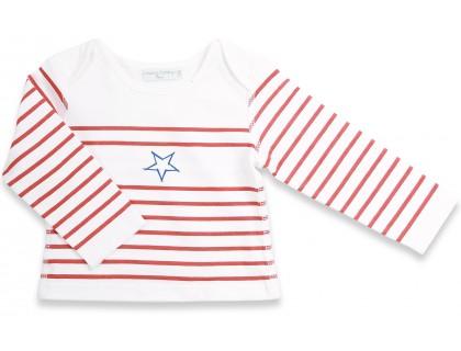 T-shirt manches longues bébé style marinière. Rayures rouges étoile bleu 100% coton
