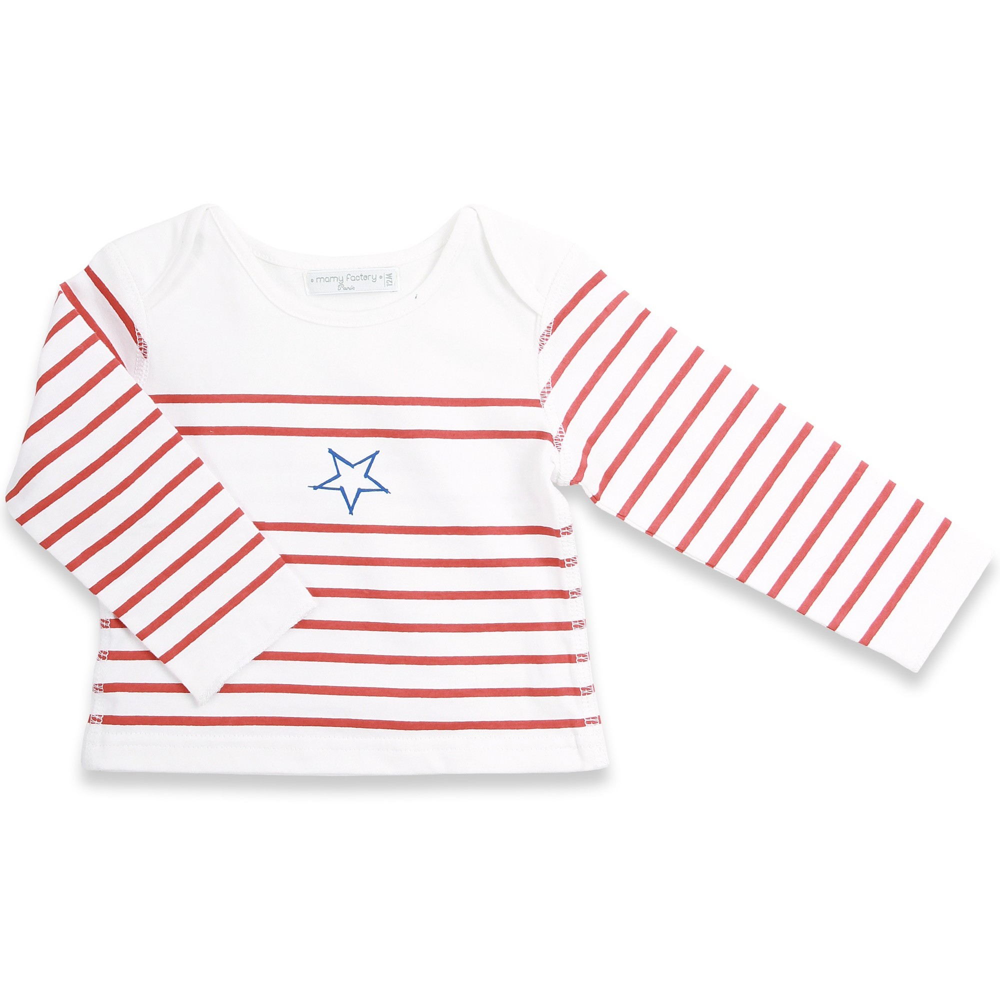 Long sleeves baby T-Shirt with red stripes and blue star 100% soft cotton