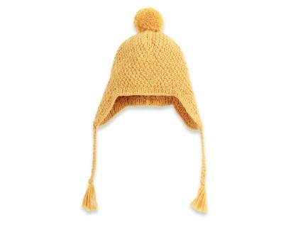Bonnet bébé jaune type péruvien en laine et alpaga tricoté au point de blé