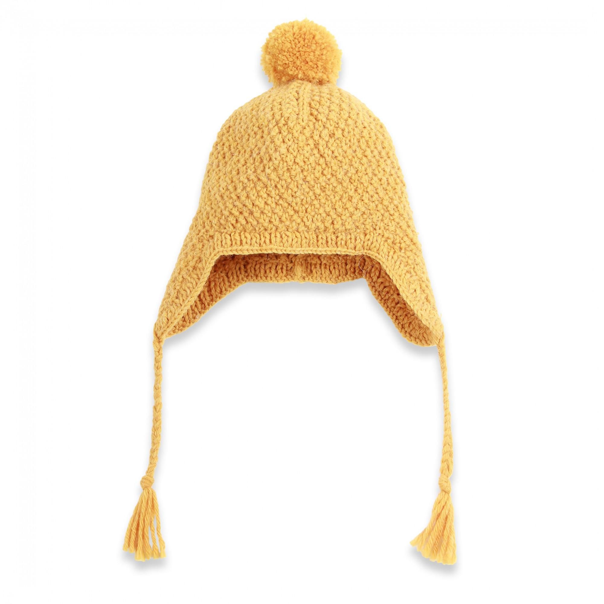 Bonnet bébé jaune type péruvien en laine et alpaga tricoté au point de blé f1b3119485d