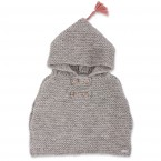 Grey baby cape knitted in garter stitch made from wool and alpaca