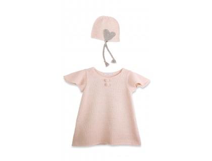 Robe bébé manches courtes papillon et bonnet en laine d'alpaga rose ballerine