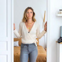 Modele tricot PDF - Cache coeur sandra