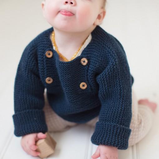 Pull Henri pour bébé - coloris vert Londres - en mérinos