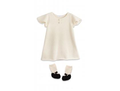 Robe bébé manches courtes papillon et chaussons ballerines en laine d'alpaga écru