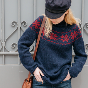 pull jacquard tricote main laine merinos et cachemire